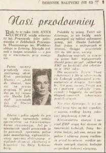 Anna Walentynowicz, przodownica pracy. Źródło: Dziennik Bał'tycki, 4-6.04.1953
