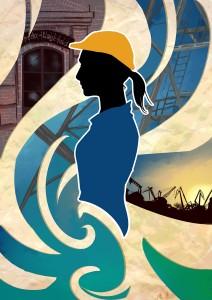 Stocznia jest kobietą. Obraz autorstwa Katarzyny Marlewskiej, obecny również w reklamówce.