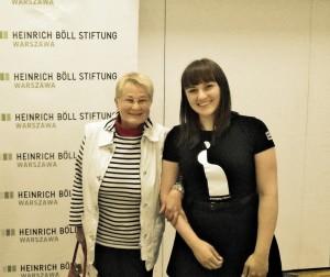 Barbara Labuda i Monika Kwiatkowska na konferencji w Warszawie. Archiwum prywatne MK.