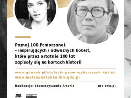 Grafika projektu 100 kobiet na 100-lecie praw wyborczych, na zdjęciach Bożena Rybicka-Grzywaczewska i Anna Walentynowicz